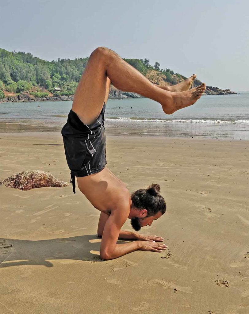 Shanti Yoga School - 200 Hour Yoga Teacher Training - Tristan Scorpion Pose Om Beach Gokarna India