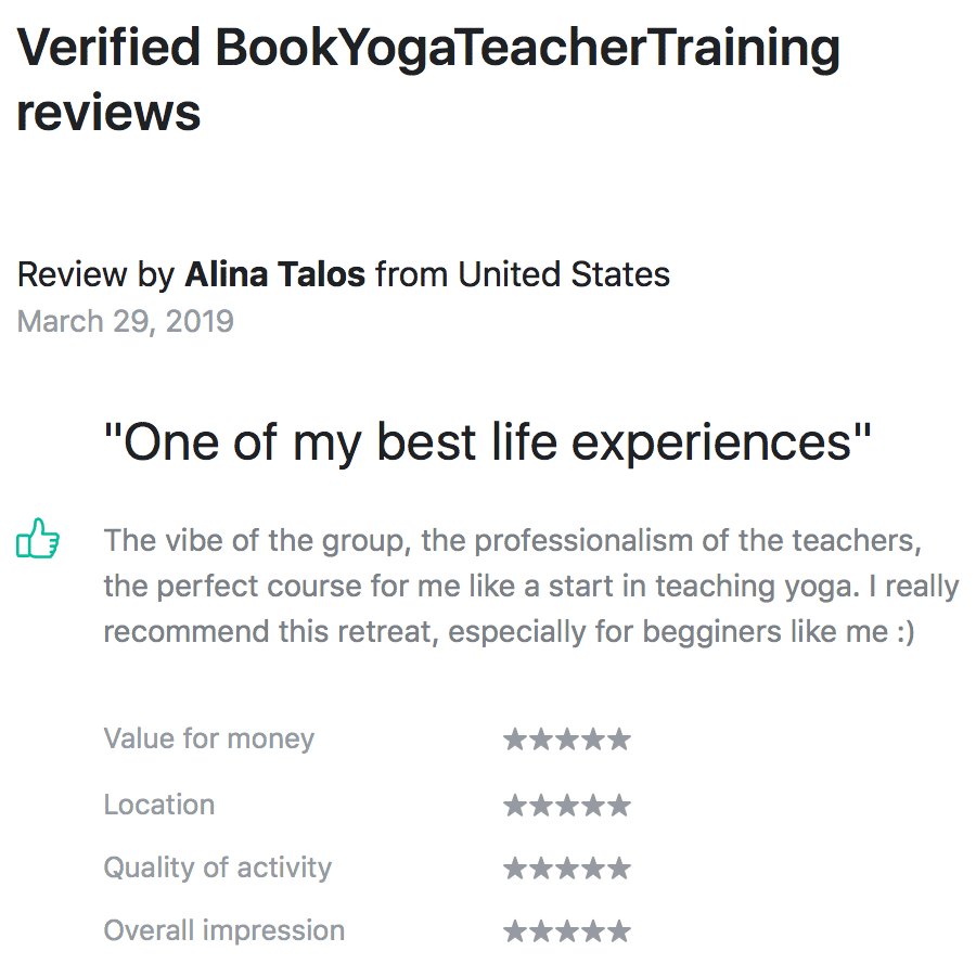 Shanti Yoga School - 200 Hour Yoga Teacher Training - Book Yoga Retreats - Alina's Review